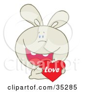 Caring Beige Rabbit Laughing And Holding A Red Heart Love Valentine