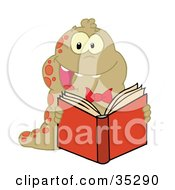 Clipart Illustration Of An Energetic Brown And Red Spotted Worm Reading A Book