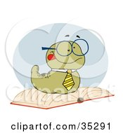 Clipart Illustration Of A Smart Old Worm Wearing A Tie And Glasses Resting On An Open Book by Hit Toon