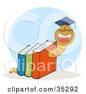 Happy Worm Graduate Crawling Through Colorful Books