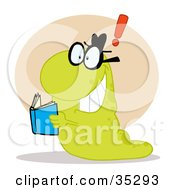 Clipart Illustration Of A Green Worm Coming To A Realization While Reading A Blue Book