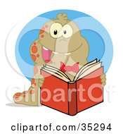 Clipart Illustration Of A Happy Brown And Red Spotted Worm Reading A Book