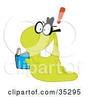Clipart Illustration Of A Green Worm Reading A Blue Book Getting An Idea Expressed As An Exclamation Point by Hit Toon
