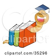 Clipart Illustration Of A Successful Worm Graduate Crawling Through Colorful Books by Hit Toon