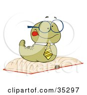 Clipart Illustration Of A Knowledgeable Old Worm Wearing A Tie And Glasses Resting On An Open Book by Hit Toon