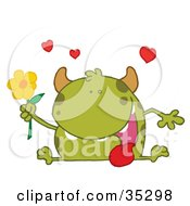 Clipart Illustration Of A Loving Green Monster Sitting With His Tongue Hanging Out Holding A Yellow Flower Under Hearts