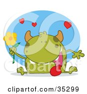 Clipart Illustration Of A Sweet Green Monster Sitting With His Tongue Hanging Out Holding A Yellow Flower Under Hearts