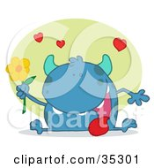 Clipart Illustration Of A Sweet Blue Monster Sitting With His Tongue Hanging Out Holding A Yellow Flower Under Hearts