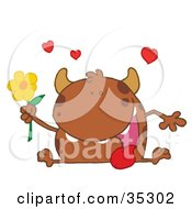 Clipart Illustration Of A Loving Brown Monster Sitting With His Tongue Hanging Out Holding A Yellow Flower Under Hearts
