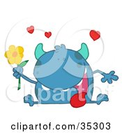 Clipart Illustration Of A Loving Blue Monster Sitting With His Tongue Hanging Out Holding A Yellow Flower Under Hearts