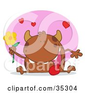 Clipart Illustration Of A Sweet Brown Monster Sitting With His Tongue Hanging Out Holding A Yellow Flower Under Hearts