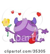 Clipart Illustration Of A Loving Purple Monster Sitting With His Tongue Hanging Out Holding A Yellow Flower Under Hearts