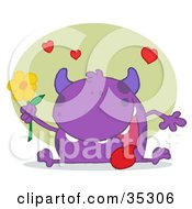 Clipart Illustration Of A Sweet Purple Monster Sitting With His Tongue Hanging Out Holding A Yellow Flower Under Hearts