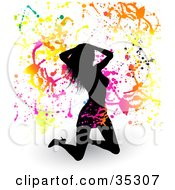 Clipart Illustration Of A Sexy Black Silhouetted Woman Kneeling In A Skirt And Heels Touching Her Hair On A White Background With Shadows And Colorful Splatters