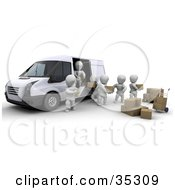 3d White Characters Working Together While Being Supervised As They Load Boxes In A Delivery Van