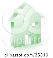 Clipart Illustration Of A Green Home Icon With A Doorway Chimney And Window