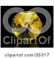 Clipart Illustration Of A Golden Wire Earth Globe On A Reflective Black Surface And Background
