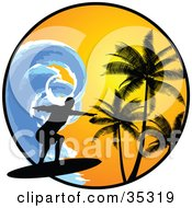 Clipart Illustration Of A Black Silhouetted Surfer Riding A Large Blue Wave Over A Circle With An Orange Sunset And Silhouetted Palm Trees by KJ Pargeter