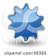 Shiny Blue Starburst Shaped Web Design Internet Button Or Icon