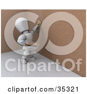 Clipart Illustration Of A 3d White Character Applying Plaster To A Brown Wall by KJ Pargeter