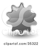 Clipart Illustration Of A Shiny Gray Starburst Shaped Web Design Internet Button Or Icon