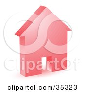 Clipart Illustration Of A Red House Icon With A Doorway