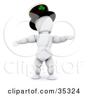 3d White Character Dancing And Wearing A St Patricks Day Hat With A Clover On It