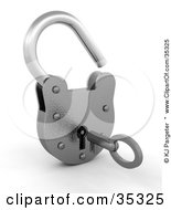 Clipart Illustration Of A 3d Metal Padlock Opened A Key In The Hole