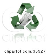Clipart Illustration Of Green Recycle Arrows Around A Hovering Tin Can
