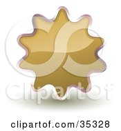 Clipart Illustration Of A Shiny Brown Starburst Shaped Web Design Internet Button Or Icon