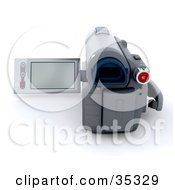 Clipart Illustration Of A 3d Personal Cam Corder With The Screen Open Facing Away by KJ Pargeter