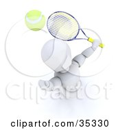 Clipart Illustration Of A 3d White Character Looking Up Preparing To Hit A Tennis Ball With A Racket by KJ Pargeter