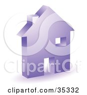 Clipart Illustration Of A Purple Home Icon With A Doorway Chimney And Window