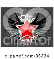 Clipart Illustration Of A Shiny Red Star Bordered In Chrome With Black Wings Over A Grungy Gray And White Background by KJ Pargeter