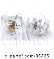 Clipart Illustration Of 3d White Characters Listening To A Speaker by KJ Pargeter