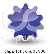 Clipart Illustration Of A Shiny Navy Blue Starburst Shaped Web Design Internet Button Or Icon
