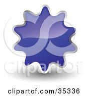 Shiny Navy Blue Starburst Shaped Web Design Internet Button Or Icon