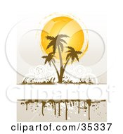 Brown Palm Tress In Front Of The Summer Sun Growing On A White Text Box Over A Faint Background With White Circles