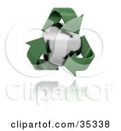 Green Recycle Arrows Around Metal Orb