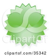 Clipart Illustration Of A Green Shiny Starburst Shaped Internet Button Icon
