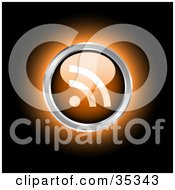 Clipart Illustration Of A Glowing Orange RSS Icon Or Button On A Black Background by KJ Pargeter