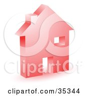 Clipart Illustration Of A Red Home Icon With A Doorway Chimney And Window