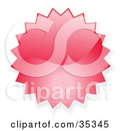Clipart Illustration Of A Red Shiny Starburst Shaped Internet Button Icon