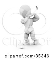 Clipart Illustration Of A 3d White Character Swinging A Golf Club On A Course by KJ Pargeter