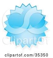 Blue Shiny Starburst Shaped Internet Button Icon