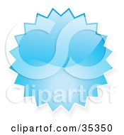 Clipart Illustration Of A Blue Shiny Starburst Shaped Internet Button Icon