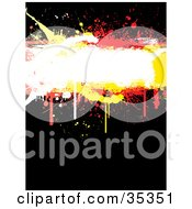 Clipart Illustration Of A White Yellow And Red Dripping Grungy Text Box On A Black Background