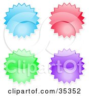 Clipart Illustration Of A Design Collection Of Blue Red Green And Purple Shiny Starburst Shaped Internet Icons Or Buttons