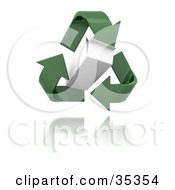 Clipart Illustration Of Green Recycle Arrows Around A Hovering Carton