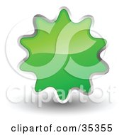 Clipart Illustration Of A Shiny Green Starburst Shaped Web Design Internet Button Or Icon